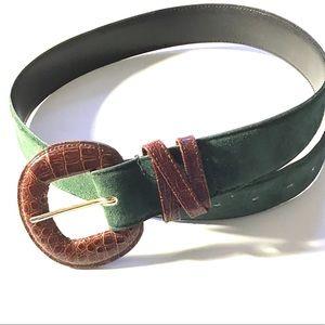 Vintage Genuine Suede and Bonded Crocodile Belt
